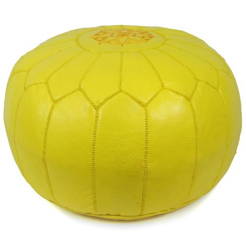 """Mina Stuffed Moroccan Leather Pouf Ottoman, Many Colors Available, 20"""" Diameter and 13"""" Height (Yellow)"""