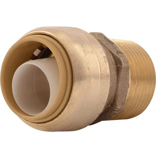 SharkBite U134LFA Straight Connector Plumbing Fitting, PEX Fittings, Push-to-Connect, Copper, CPVC, HDPE, 3/4 Inch x threaded 3/4 Inch MNPT