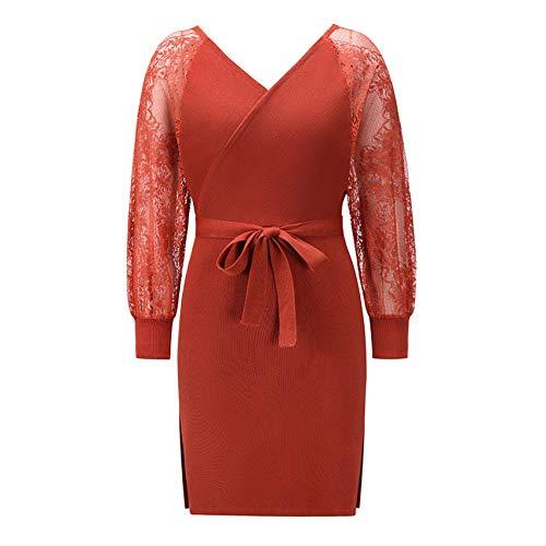LaiYuTing Spitzenstrickkleid 2020 Herbst Und Winter Neue Plus Size Damenbekleidung
