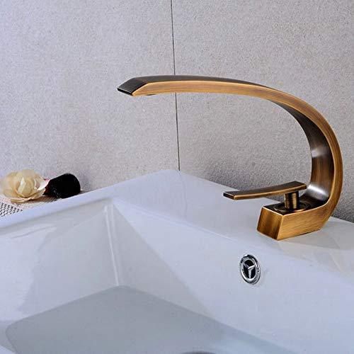 Válvula mezcladora Cuarto de baño moderno Ollas grifo, cascada de agua del grifo de bronce Todo Espesar Cuenca Grifos Tipo de estilo europeo de la Cuenca del grifo de agua mezclados con agua del grifo