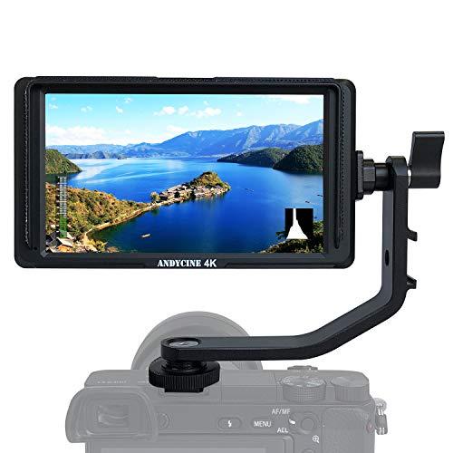 ANDYCINE A6 Lite Monitor de campo de cámara DSLR HDMI de 5 pulgadas, 1920 x 1080, enfoque de pico de vídeo que evalúa la entrada HDMI y salida de CC con brazo inclinable