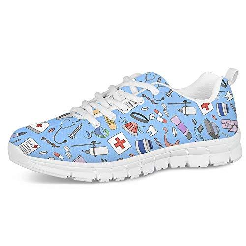 Polero - Zapatillas de enfermera con diseño de historieta y osos, zapatillas deportivas para mujer, para correr, caminar, con cordones talla EU 36-41, color, talla 38 EU