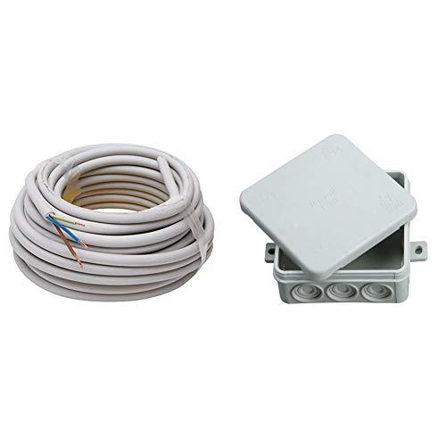 Kopp Mantel-Leitung 3 adrig, NYM-J 3x1.5 mm² (10m) Strom-Kabel für feste Verlegung, 300V/500V, elektrische Leitung für Feuchtraum, grau, 150810841 & 347114008 Abzweigdose Aufputz-Feuchtraum