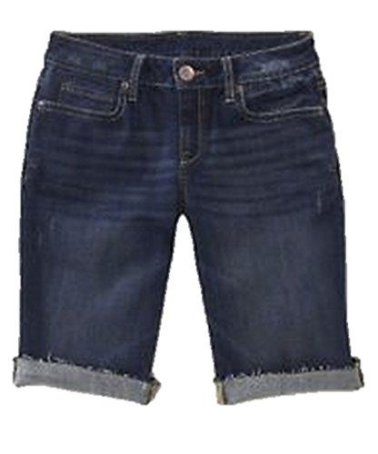 Aeropostale Women's Bermuda Jean Shorts Dark Destructed 0426 2