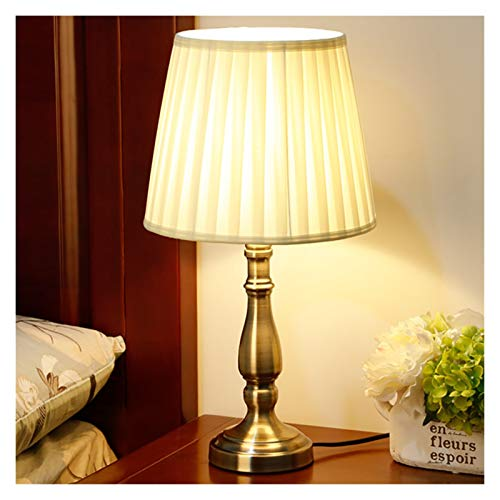 Luz Mesa de Noche Shade vector de la vendimia de la lámpara de noche tradicional lámpara de bronce del diseño del metal base grande Retro lámpara de escritorio Dormitorio Sala de regalo Servicio de ha