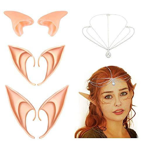 Orejas elfo Disfraz, Coolba 3 pares Orejas de látex Cosplay orejas de elfo Anime Disfraz Props Accesorios para Fiestas de Halloween disfrazar Fiesta de carnaval para mujer ninas