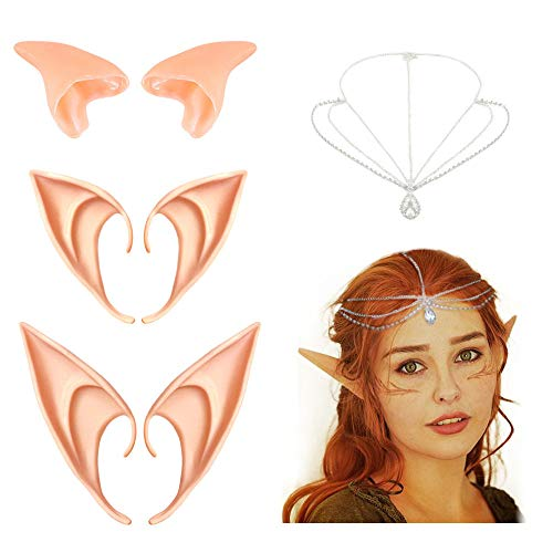 Orecchie Elfo,Coolba 3 pezzi Pixie elf da Orecchie Elfo in lattice makeup Elf Dress Up Costume Soft Goblin orecchie a punta Cosplay Halloween Festa di Carnevale