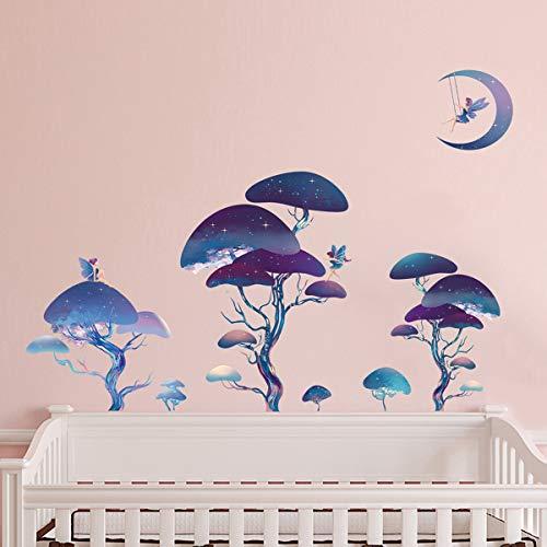 ufengke Wandtatoos Fantasie Wald Feen Wandsticker Wandaufkleber Sterne Baum Wanddeko für Kinderzimmer Mädchen Schlafzimmer