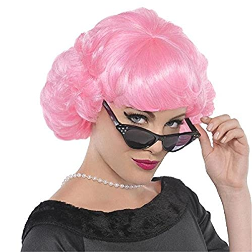 amscan 842204 Short Curly Pink Frenchie Wig for Adults, 1 Piece