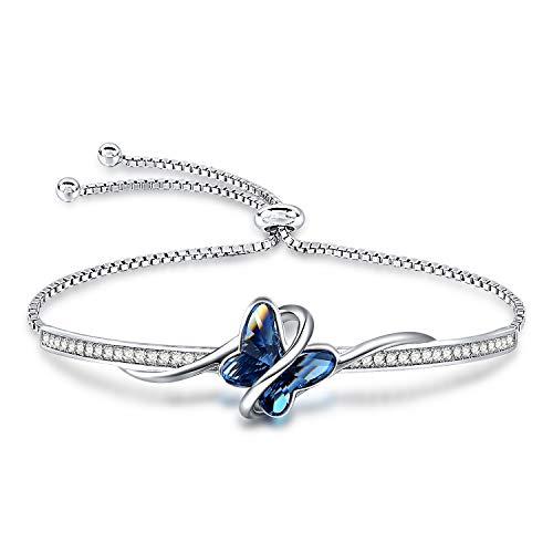 George · SMITH - Pulsera clásica de mariposa para mujer, chapada en plata con cristal azul, pulsera para mujer, regalo de cumpleaños para mujer, Oro blanco Plata, Crystal,