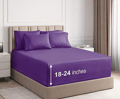 CGK Unlimited Extra Deep Pocket Sheets - King Size Purple - Super Deep Pocketed Bed Sheet Set - Deep Fitted - Oversize Bedding