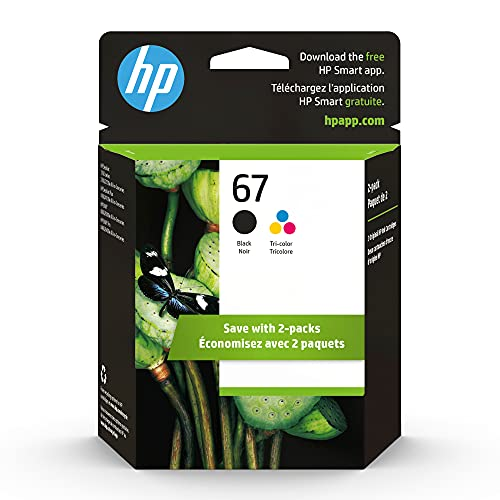 Original HP 67 Black/Tri-color Ink Cartridges (2-pack) | Works with HP DeskJet 1255, 2700, 4100 Series, HP ENVY 6000, 6400 Series | Eligible for Instant Ink | 3YP29AN