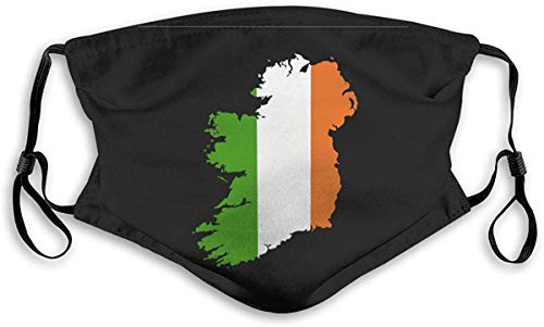 Ierland MAP en vlag Unisex anti-vervuiling masker stofmasker met filter masker Small Veelkleurig