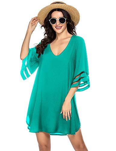 Ekouaer Women's Beach Cover Ups Swimwear 3/4 Sleeve Vneck Bathing Suit Swimsuit Coverups Green