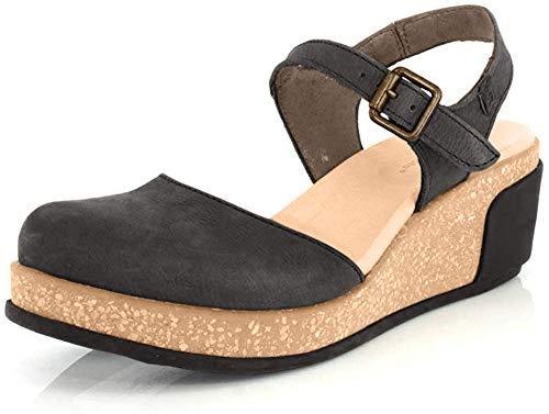 El Naturalista Damen Pleasant Leaves N5001 Sandalen mit Verschluss auf der Rückseite, Schwarz(Black Black), 38 EU