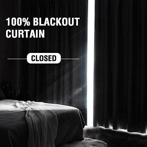 H.VERSAILTEX 100% Blackout Curtains for Bedroom Living Room Textured Linen Look Total Blackout No Light Through Rod Pocket Window Curtain Drapes with White Backing (Ivory, 2 Panels, 52x84-Inch)