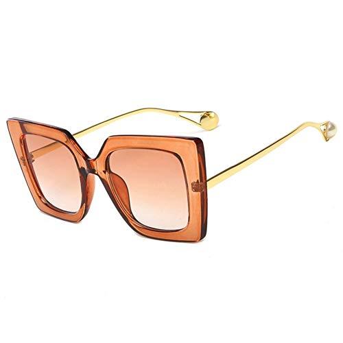 SLAKF Gafas duraderas Gafas Azules Conductor Florales clásicos Femeninos Perla de Lujo de diseño de Ojo de Gato Gafas de Sol de Las señoras Mujeres UV400 (Color : Brown)
