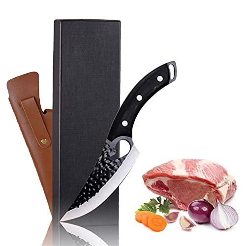 Cuchillo de carnicero Cuchillo de deshuesado forjado a mano con cubo de chef de funda cortando y cortando un filete de acero altas de carbono Cuchillo de cuchillo para la cocina para acampar barbacoa