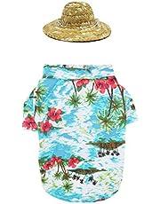 Balacoo Hawaiian Pet Summer Shirt y Mini Sombrero Hat para Perros pequeños a medianos Gatos Ropa de Verano Disfraz de Cachorro