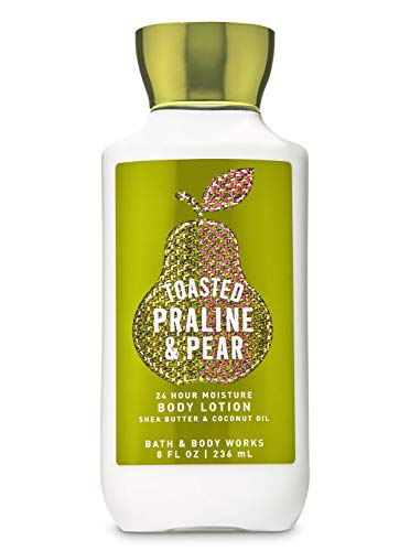 Bath and Body Works Toasted Praline & Pear Fall Traditions 24 hour Moisture Super Smooth Body Lotion with Shea Butter, Coconut Oil and Vitamin E 8 fl oz / 236 mL