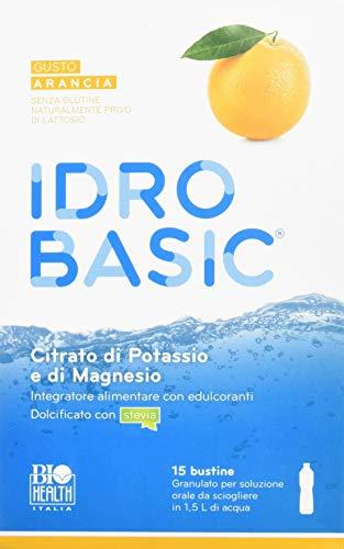 IDROBASIC di Biohealth Italia - Integratore Alimentare di Minerali Alcalinizzanti Dolcificato con Stevia, Gusto Arancia - Confezione da 15 bustine