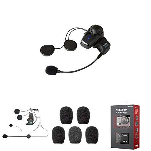 Sena SMH10-10 Bluetooth-Headset und Gegensprechanlage + SMH-A0302 Helmklemmenset - Anbringbares Bügelmikrofon + SC-A0109 Mikrofonaufsätze + GP10-02 Bluetooth Audio-Pack & Zubehör