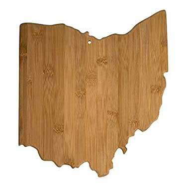 """Totally Bamboo State Cutting & Serving Board – """"OHIO"""", 100% Organic Bamboo Cutting Board, Extremely Strong and Durable Perfect for Cooking, Entertaining, Décor and Gift Set. Designed in USA"""