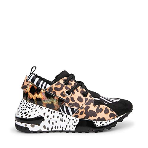 Price comparison product image Steve Madden Girls' JCLIFF Sneaker,  Animal Multi,  4 M US Big Kid