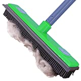 LJXZXMY Pet Hair Removal Rubber Broom with Squeegee,pet Hair Broom for All Surfaces,Carpet rake for pet or Human Hair Removal,Soft Push Broom,Can be Used as a mop,Adjustable Long Handle 59〃,Green