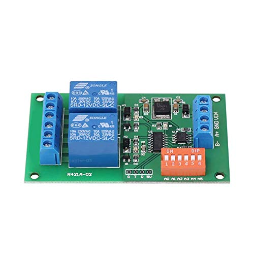Relay Module 2 Channel Relay Board RS485 MODBUS RTU at Dual Command Input Serial Port Remote Control Switch Blue Practic