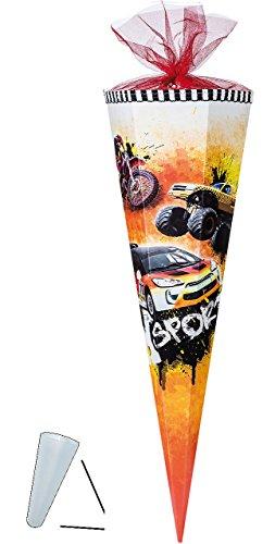alles-meine.de GmbH Schultüte - Fahrzeuge Auto  X Sports  - 50 cm - mit Tüllabschluß - Zuckertüte - mit / ohne Kunststoff Spitze - für Jungen - Ralley Wagen Autos - Rally Bike ..