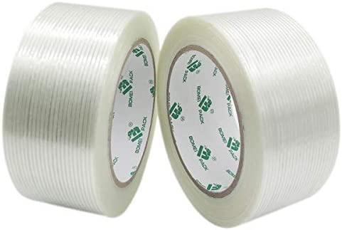 Mono Filament Strapping Tape 2 Roll 2 Inch x 35 Yards 5 3 Mil Heavy Duty Transparent Reinforced product image