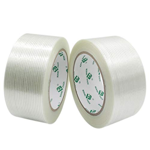 Mono Filament Strapping Tape, 2 Roll 2 Inch x 35 Yards 5.3 Mil, Heavy Duty Transparent Reinforced Fiberglass tape, BOMEI PACK
