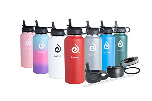 hydrate 32 oz Stainless Steel Water Bottle. Comes with Additional Straw lid and flip lid. BPA Free & Leak Proof. (Cherry Red)