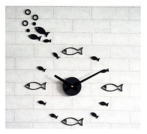 WWWL Reloj de Pared Pegatina de diseño de Peces EVA 40CM-70 CM Reloj de Pared 4 Colores Grande Decorativo 3D DIY Reloj de Pared Grande (Color : Black, Size : 70x70cm)