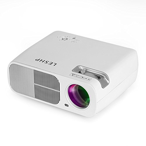 Leshp, Mini-LED-Beamer HD 1080p HDMI / VGA / USB / AV / TV Home Cinema 3200 Lumen Bianco