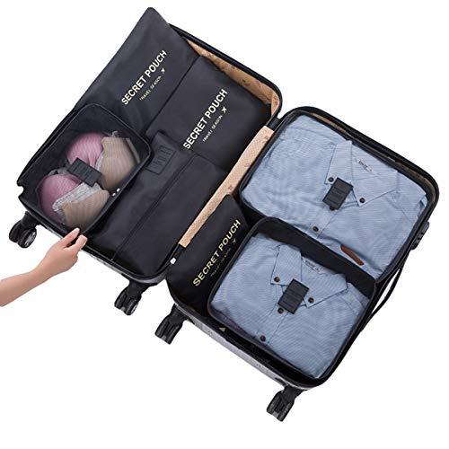Yagosodee Bolsa de ropa de viaje Cubos de embalaje portátil Bolsa de almacenamiento Organizador de equipaje Ahorrar bolsa de espacio 7pcs/set (negro)