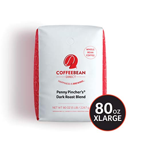 Coffee Bean Direct Penny Pincher's Dark Roast Blend, Whole Bean, 5 lb Bag