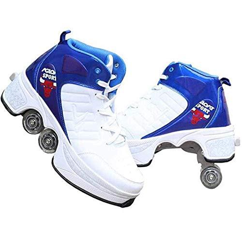 Rollschuhe, Unisex-Rollschuhe, Rollschuhe, Rollschuhe mit lässiger Verformung, Moon-Schuhe für Kinder, Skateschuhe für Männer 2 in 1 Outdoor-Freizeitschuhe, Blau, 34