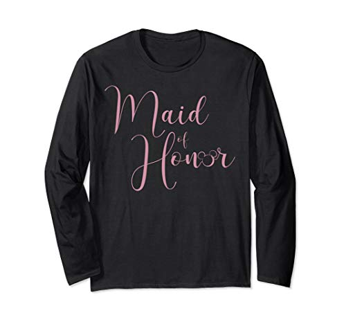 Disney Mickey And Friends Maid Of Honor Simple Pink Text Long Sleeve T-Shirt