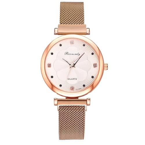 ALCENTIS – Reloj para mujer – Pulsera milanesa de oro rosa – Fondo de la esfera blanco satinado con 4 pequeños brillantes