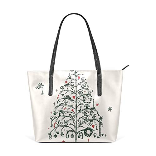 NR Multicolour Fashion Damen Handtaschen Schulterbeutel Umhängetaschen Damentaschen,Christmasfairies With Wands Tree Handgezeichnete Stil Kranz Strümpfe Bild Decorativered