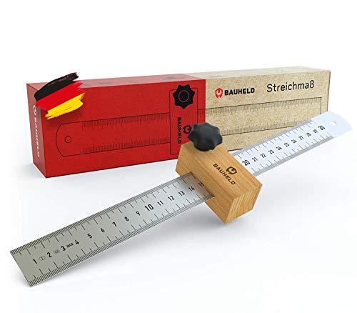 BAUHELD® Streichmaß 300mm [EG-1] - Anreisswerkzeug mit Messskala in INCH und CM [Made in Germany] - Metall Anschlaglineal aus rostfreiem INOX Edelstahl - Streichmass Lineal-Anschlag aus Buchenholz