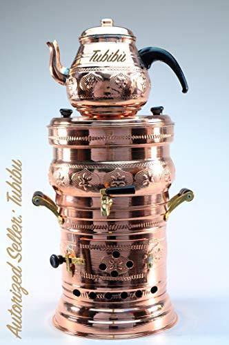 Tubibu Samowar-Teekannenset, Kupfer, handgefertigt, aus echtem Kupfer, mittelgroß
