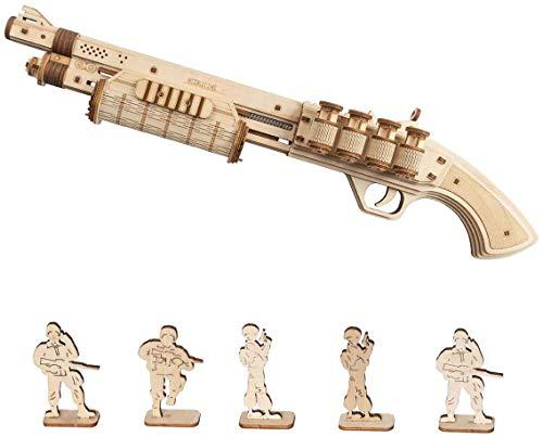 Robotime Terminator M870 3D Holzpuzzle Modellbausatz Erwachsene Spielzeugpistole - Mechanisches Gebäudemodellbausatz 3D Holzpuzzle für Kinder ab 14 Jahren