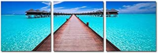Wieco Art Blue Ocean 3 Piece Giclee Canvas Prints Wall Art Paintings for Living Room Bedroom Home Decorations Modern Stretched and Framed Seascape Artwork Grace Sea Beach Pictures Printed on Canvas