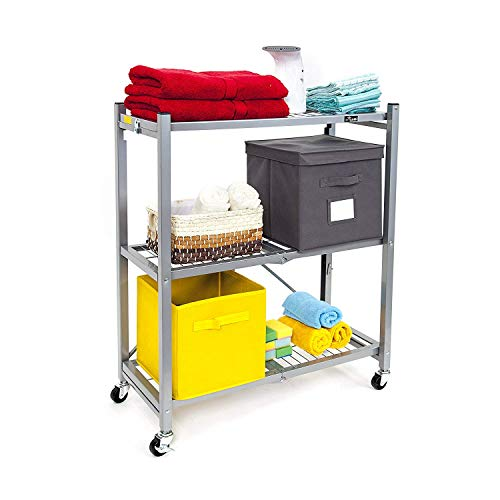 Origami General Purpose Collapsible Foldable 3-Shelf Small Storage Rack with Wheels, Pre-Assembled -...