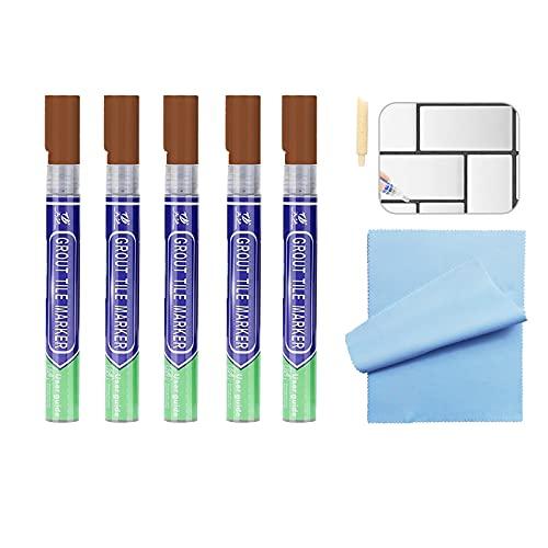 5 lápices marrones para lechada, lechada de azulejos, lápiz para restauración y reparación de juntas de azulejos.