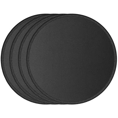 JIKIOU 4 Pack Computer Mouse Pad with Non-Slip Rubber Base, Premium-Textured Mousepads Bulk with Stitched Edges, Mouse Pads Pack for Computers, Laptop, PC, Office & Home, 7.9x7.9 inches, 3mm, Black
