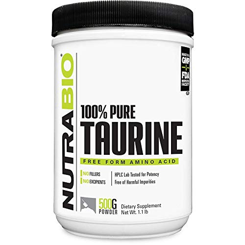 NutraBio Taurine Supplement Powder, Better Energy Levels & Digestion, Reduce Muscle Cramps, 500 Grams - 1000mg Serving